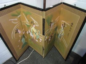 A Chinese folding screen with hand painted scenes of geisha girls, tears present,