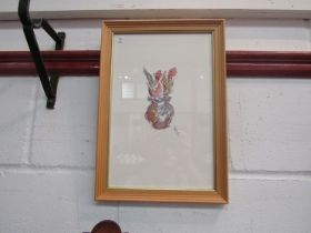 MAZ JACKSON: A watercolour of flowers in a vase, initialled, framed and glazed,