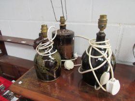 Three glazed pottery table lamp bases