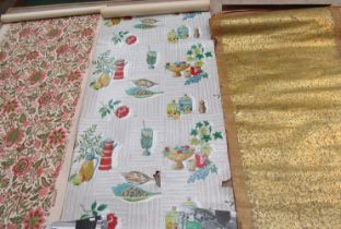 A box containing vintage wallpaper to include French block print, exquisite hand block chinoiserie,