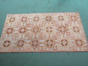 Yellow ground geometric rug with very fine Hooked work,