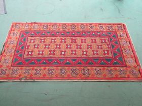 Geometric Hooked runner, red, ochre and sage green, spectacular combination,