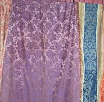 A 19th Century lavender silk panel with a panel of coral and blue ember line stipe 230cm x 128cm