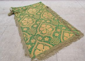 19th Century green silk and gold thread banner with bullion fringe,