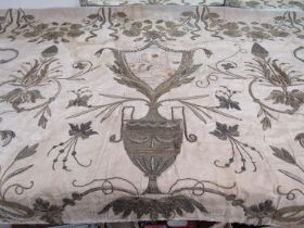 18th Century French gold thread embroidery on silk, possibly altar piece, delicate condition.