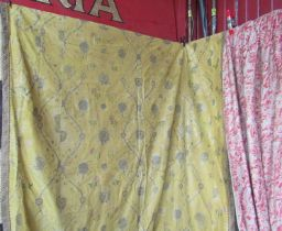 18th Century striking large French yellow silk textile with foliate pattern worked with silk thread.
