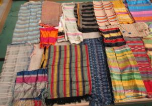 A great number of exquisite assorted stripe mainly silk fabrics to include a variety of ethnic