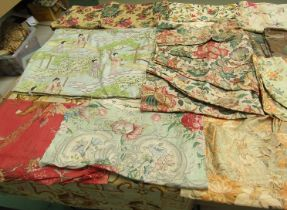 A significant number of large scale florals to include very early toile,