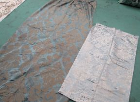 Two French silk panels in eau de nil damask with stunning reflective quality 232cm x118cm & 240cm x