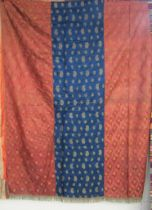 A spectacular 19th Century Moroccan or Damascene silk tent hanging in terracotta,