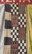 Early 20th Century fabulous African bark cloth tribal hanging with embroidery,