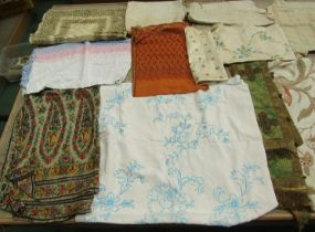 A collection of attractive 18th, 19th and early 20th Century embroideries to include Indian shawl,