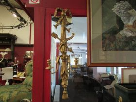 A pair of carved gilt wood and metal wall sconces, one a/f,