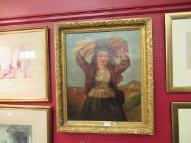 An antique oil depicting girl harvesting holding wheatsheaf, in ornate gilt frame, canvas re-lined,