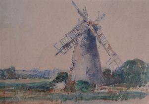 ARTHUR EDWARD DAVIES (1893-1989): A framed and glazed watercolour, Reedham Mill, Norfolk.