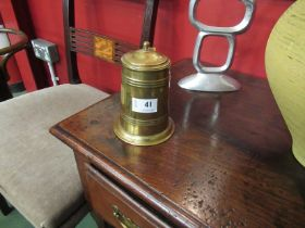 An Army and Navy brass lidded tankard,