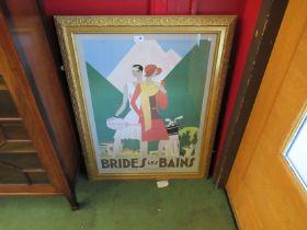 """A gilt framed deco style French Art poster after L Benigni """"Brides Les Bains en Savoie"""","""
