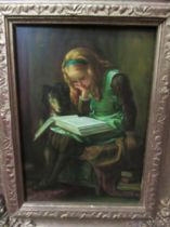 A 20th Century oil on panel of a young girl reading. Signed M.Green bottom left, 17.