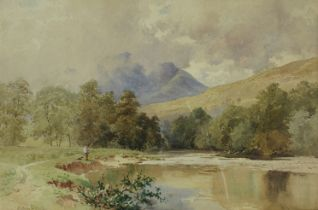 SUTTON PALMER (1854-1933): An ornate gilt framed watercolour, 'On The Orchy, Scotland'.