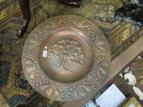 """A John Pearson 1890 Arts and Crafts copper charger """"Arcades Ambo"""","""