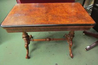 """Stamped """"Maple & Co"""" a burr walnut circa 1860 card table on turned and carved base with ceramic"""