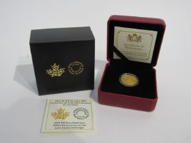 A 2019 ten dollar pure gold coin 100th Anniverary of the last issued sovereign, Royal Canadian Mint,