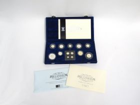 A Royal Mint UK Millennium silver collection with nine coins and Maundy set,