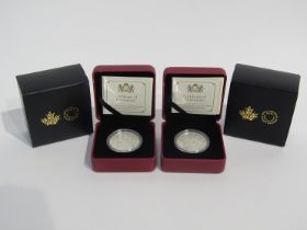 Two 2016 Coat of Arms of Canada silver Piedfort coins, Royal Canadian Mint, cased and boxed,