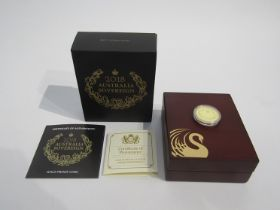 A 2018 Australian sovereign, gold proof, The Perth Mint,