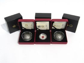 Three Lest We Forget silver coins consisting of two 2018 25 dollar and one 2019 20 dollar,