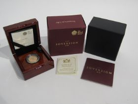 A 2017 gold sovereign, limited edition of 10,500 Royal Mint,