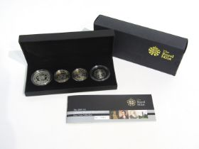 A Royal Mint UK silver proof 2009 Piedfort four coin collection set,