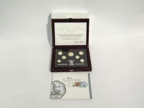 A Royal Mint silver proof 1996 Silver Anniversary Collection of seven coins,