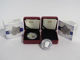 "Two ""A Celebration of Her Majesty's 90th Birthday"" twenty dollar silver coins, 2016,"