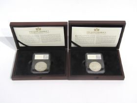 Two King George V 1935 Silver Jubilee crowns, cased and boxed,
