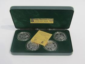 A set of four silver proof Isle of Man crowns commemmorating the 1980 Olympic Games,