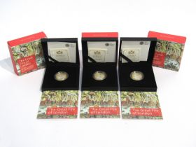 Three 350th Anniversary of The Great Fire of London 2016 UK £2 silver proof coins, Royal Mint,