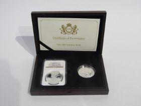 A silver Britannia pair coin set comprising of 2015 & 2016 silver proof Britannia coins,