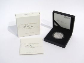 """A Royal Mint UK Great Engravers Collection 2019 """"Una and the Lion"""" two ounce silver proof coin,"""