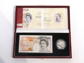 A Royal Mint and Bank of England £10 note and silver proof crown set, limited edition,
