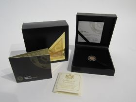 A 2017 50th Anniversary Krugerrand 1/20th oz gold proof coin, South African Mint, cased and boxed,