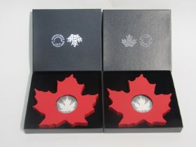 Two Canada 2015 20 dollar silver maple leaf coins, Royal Canadian Mint, cased and boxed,