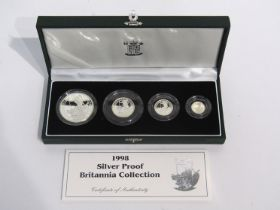 A UK 1998 silver proof Britannia collection of four coins