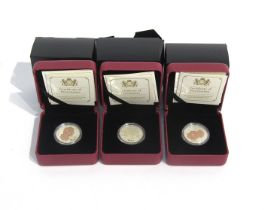 Three 2016 Queen Elizabeth Rose silver coins, Royal Canadian Mint, cased and boxed,