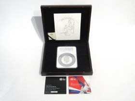 A 2013 UK Britannia five ounce silver proof first strike presentation coin, with documentation,