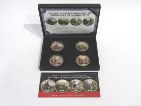 A Battle of Waterloo Numisproof set of four gold plated coins with display case