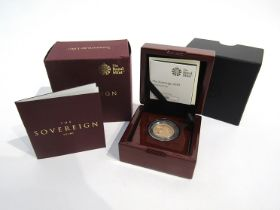 A 2019 gold sovereign, limited edition of 9,500, Royal Mint,