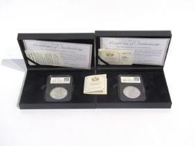 Two DateStamp United Kingdom 1oz silver Britannia coins, 2017,