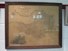 An oak framed map of Somerset by Col.
