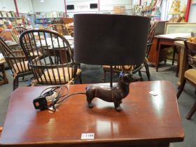 A dashund with crown table lamp,